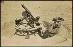 An original image showing Ottoman soldiers firing a handcrafted rotating anti-air gun they made with a cartwheel during the Gallipoli Campaign Turkish Soldiers, Turkish Army, Turkish War Of Independence, Gallipoli Campaign, Battlefield One, Contemporary History, Air Raid, Military Weapons, Ottoman Empire