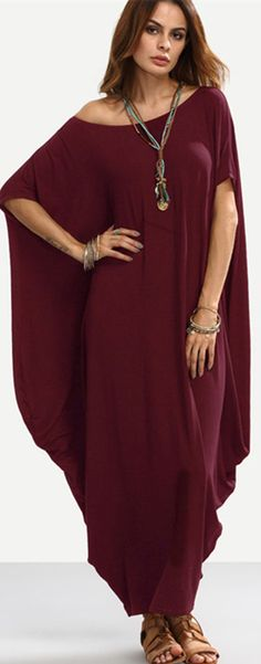 Sexy Women Off Shoulder Loose Pure Color Casual Maxi Dress Casual Summer Dresses, Trendy Dresses, Women's Fashion Dresses, Dresses For Teens, Nice Dresses, Dress Outfits, Maxi Dresses, Comfortable Outfits, Stylish Outfits