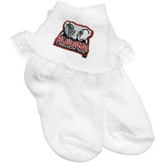 Alabama Crimson Tide Infant Girls White Lace Ankle Socks