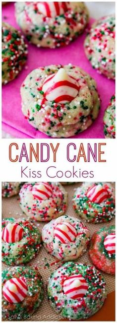 Candy Cane Kiss Cookies Recipe via Sally's Baking Addiction - I can see why these are some of her favorite Christmas Cookies to make from scratch!