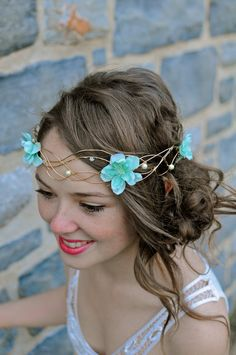 Gold Wire Woven Floral and Pearl Head piece Tiara by WirePrincess, $55.00