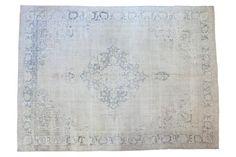9x12.5 Vintage Distressed Oushak Carpet - Old New House