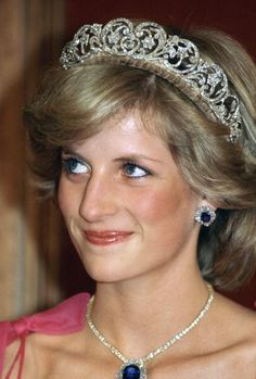 The Spencer Tiara is mounted in gold in the form of stylised flowers decorated in diamonds in silver settings. The central element was a gift from Lady Sarah Spencer to Cynthia, Viscountess Althorpe as a wedding present in 1919. It was later remounted. Four other elements were made to match it in 1937. The two elements are said to have come from a tiara owned by Francis, Viscountess Montagu and left to Lady Sarah Spencer in 1875.