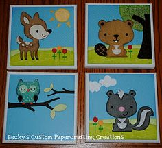 Forest Theme Animals set of 4 6x6 canvas'.    Can be personalized with a name under the owl.  $40