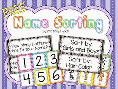 FREE activities for helping students learn their names and their peer's names Spelling Activities, Sorting Activities, Kindergarten Activities, Kindergarten Classroom, Preschool Ideas, Learning Activities, Teaching Ideas, Classroom Ideas, Education And Literacy
