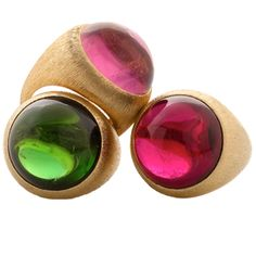 Henry Dunay Sabi Rings in 18k YG with Red, Pink & Green Tourmaline