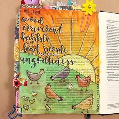 "YES! Such a cute illustration and words full of conviction!!! #Repost @kaylas_painted_faith  One of my favorite musicals is The Music Man. There is a scene where all the women are babbling away talking all this gossip and nonsense and the music sounds like chickens and their pecking and peeping. In 2 Timothy 2:16-17 it says ""but avoid irreverent babble for it will lead people into more and more ungodliness and their talk will spread like gangrene."" All I could picture here was that scene in…"
