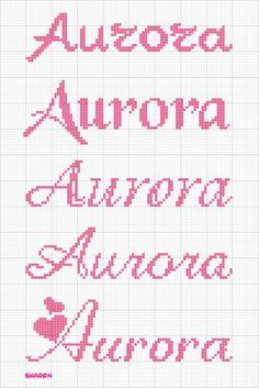 Aurora Cross Stitch Alphabet, Cross Stitch Baby, Aurora, Bullet Journal, Cross Stitch Samplers, Cross Stitch Patterns, Cross Stitch Letters, Cross Stitch Heart, Counted Cross Stitches