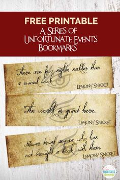 Bookmarks Lemony Snicket himself would be proud to own. Get these FREE Printable A Series of Unfortunate Events Bookmarks!