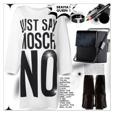 """T-shirt Dress"" by dragananovcic ❤ liked on Polyvore featuring Moschino, Yves Saint Laurent, Monique Lhuillier, Gorgeous Cosmetics, Deborah Lippmann, PBteen, Manokhi, Maria Dorai Raj and Lautēm"