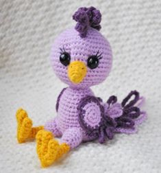 The crochet bird amigurumi pattern is designed to suit medium level skills. You can use different colors to create a unique crochet bird amigurumi. Crochet Bird Patterns, Crochet Birds, Crochet Designs, Crochet Animals, Crocheted Flowers, Crochet Stars, Flower Patterns, Knitting Patterns, Crochet Simple
