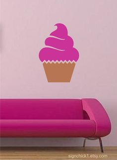 Cupcake Wall Decal, love this for a kitchen Pink Love, Pretty In Pink, Wall Stickers, Wall Decal, Cupcake Shops, I Believe In Pink, Love Cupcakes, Love My Kids, Everything Pink