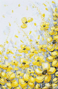 """""""Blossoms of Sunlight"""" Yellow and Grey Abstract Painting Poppies Floral Flowers White Gold Print Giclee Canvas Print of Original Modern Palette Knife Painting Wall Art Home Decor Canvas Artwork by International Artist Christine Krainock"""