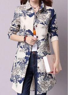 Flower Print Button Up Curved Hem Blouse - Women's Fashion Trends Batik Fashion, Hijab Fashion, Fashion Dresses, Fashion Blouses, Fashion Fashion, Modele Hijab, Batik Dress, Blouses For Women, Ladies Blouses