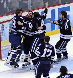 In 2013:  Pittsburg, PA-- Yale celebrates their win over Quinnipiac for the NCAA Hockey National Championship.  Photo-Peter Casolino/...