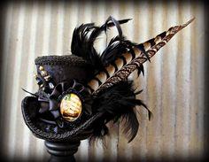 Black Steampunk, Victorian, Pirate Ship Mini Top Hat, Alice in Wonderland Mini Top Hat, Tea Party, Mad Hatter Hat, Steampunk Mini Top Hat on Etsy, $62.00
