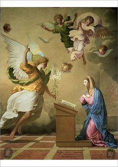 The Annunciation - Eustache Le Sueur Blessed Mother Mary, Blessed Virgin Mary, Religious Images, Religious Art, Oil On Canvas, Canvas Prints, Art Prints, Saint Gabriel, Jesus E Maria