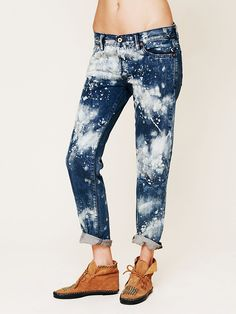 Free People NSF Bleach Splatter Boyfriend Jean