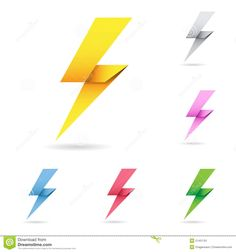 Set Of Origami Lightning Bolts