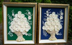 Set of 2 seashell art pictures.