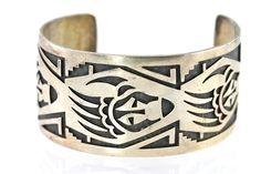 Vintage Hopi Sterling Silver Overlay Bear Track Cuff Bracelet Tony Kya – Yourgreatfinds