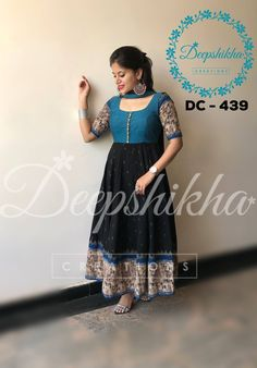 DC anarkali in black and blue combination withelbow length sleeves and kalamkari design border .<br>Blue bodice with kalamkari design sleeves and big border with all over grey design.<br>For queries kindly WhatsApp : 91 9059683293 21 February 2018 Kalamkari Designs, Salwar Designs, Kurti Designs Party Wear, Kalamkari Dresses, Ikkat Dresses, Kalamkari Kurta, Churidar, Long Gown Dress, Saree Dress