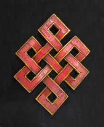 The endless knot or eternal knot (Sanskrit: Shrivatsa) is a symbolic knot and one of the Eight Auspicious Symbols.The iconography symbolised Samsara i.e., the endless cycle of suffering or birth, death and rebirth within Tibetan Buddhism. It also signifies the inter-twining of wisdom and compassion and the wisdom of the Buddha with no beginning and end.