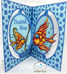 """A beautiful card by Rita Edward using the Accordion Oval Card die and the Peel-Off sticker called """"Fishes"""". Instruction on our blog."""