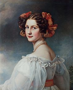 Auguste Strobl was the daughter of a royal Bavarian chief accountant. It is unknown how she came to King Ludwig I's attention, but apparently, he was smitten by her beauty that he wrote poems to her and had her portrait painted. This is Auguste's second portrait by Joseph Stieler - the first portrait overemphasized Auguste's neck that it displeased Ludwig.