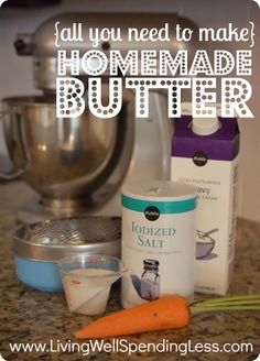 all the ingredients you need to make homemade butter in the kitchen-aid--this is seriously SO easy to do!  #homemade #butter #recipe