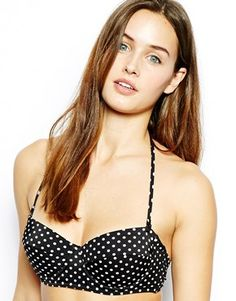 ASOS Mix & Match Spot Longline Bandeau Bikini Top with detachable strap