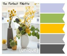 {The Perfect Palette}: 10 Palette Inspiring Centerpieces Yellow Kitchen Accents, Yellow Accents, Colour Schemes, Color Combos, Lavender Green, Green And Grey, Dark Grey, Gray Yellow, Gray Color