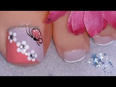 Pretty Toe Nails, Cute Toe Nails, Love Nails, Nail Art Designs Videos, Nail Art Videos, Toe Nail Designs, Pedicure Nail Art, Toe Nail Art, Blue Acrylic Nails