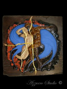 Artist: Yesid Gomez / Disey Zemog Title: L'ultimo bacio (Tribute to Rodin), Terracotta, Red Slate, Glaze and Dutch Metal