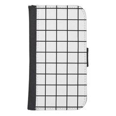 Simple+design+Plaid+Square+Pattern+-+Wallet+Case+Galaxy+S4+Wallet+Case