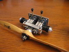 Cox model engine, custom geared twin. www.twistedhops.com