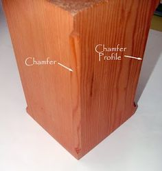 A chamfer is made in the timber by cutting off the edge of the corners, either a simple flat 45 degree cut or a variety of other styles are available as well. Chamfers give the timbers a refined, sophisticated look as well as alleviate the sharp corner and possibility of splintering wood.
