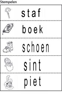 Woordjes om te na te leggen met letters en daarna te stempelen als taakje op het stempelblad
