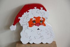 santa head wooden puzzle by puzzletoys on Etsy