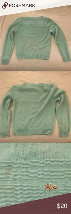 Lacoste Mint Green Sweater. Size 38. Beautiful Mint Green colored Lacoste sweater. Listed as size 38. Fits like a small. Sorry for the cellphone picture - wanted to get a fit pic. :) Lacoste Sweaters