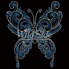 Blue Swirly Rhinestone/Rhinestud Butterfly | The Wild Side