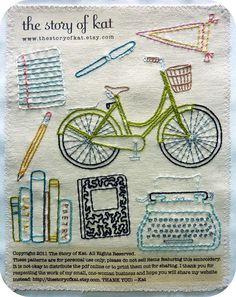 this so makes me want to start embroidering. i love the typewriter and the bicycle!