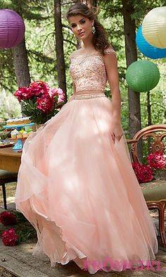 Off the Shoulder Long Two Piece Prom Dress at PromGirl.com