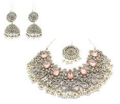 647ed7448 Silver 'SUMAYA' Necklace & Jhumki Earring Tikka Set