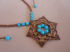 """macrame necklace / choker / flower pendant with turquoise  beads - """"Make a wish"""" by Knotify on Etsy"""