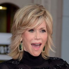 Jane Fonda Fluffy Medium Wavy Human Hair Capless Wigs 12 Inc Jane Fonda Hairstyles, Mom Hairstyles, Older Women Hairstyles, Pretty Hairstyles, Wavy Hair, New Hair, Wavy Layered Hair, Medium Hair Styles, Curly Hair Styles