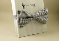 Black Blue White Houndstooth Bow Tie  Ready Tied by MrDEERbowtie