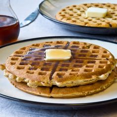 Multi-Grain Waffles ~ Our favorite waffle recipe, we love them with strawberry jam. I always make extras to freeze for a quick snack or breakfast. {Jen}