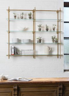 Open Kitchen Shelves using our Collector's Shelving System with Glass Shelves. The hint of green from the glass mixed with the brass finish make for a perfect duo! Brass Shelving in the kitchen is key. Brass Shelving, Pipe Shelves, Small Shelves, Open Shelving, Shelving Design, Kitchen Window Shelves, Diy Cupboards, Floating Shelves Bathroom, Glass Bar Shelves