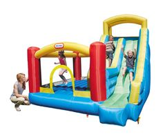 Little Tikes Giant Slide Bouncer. This bouncer has it all -- a large climbing wall, giant slide and a large protected bouncing area!. Huge slide measures over 9 feet tall. High walls & mesh side panels provide protection. Includes a storage bag, heavy duty blower with GFCI plug, repair kit and stakes for anchoring. Bouncer measures 10'W x 10'L x 9'H and recommended for ages 3+ years.
